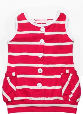 Little Kangaroo Casual Sleeveless Striped Girl's Pink Top