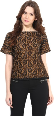 Abiti Bella Party Short Sleeve Embroidered Women's Brown Top