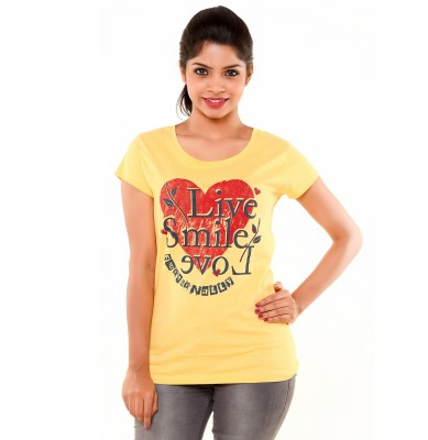 PEP18 Casual Short Sleeve Graphic Print Women's Yellow, Red Top