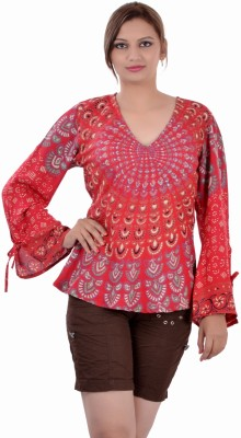 Indi Bargain Casual, Festive, Formal, Party Full Sleeve Printed Womens Multicolor Top