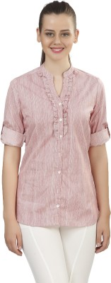 Posto Formal Roll-up Sleeve Striped Women's Pink Top