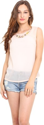 Instacrush Casual Sleeveless Solid Women,s Pink Top