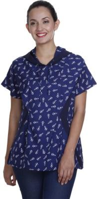 Meiro Formal Short Sleeve Printed Women's Blue Top at flipkart