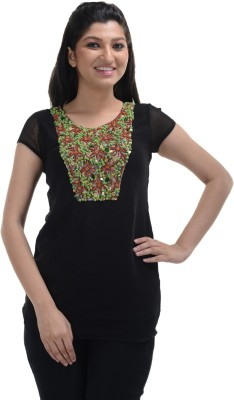No Code Party Short Sleeve Embroidered Women's Black Top