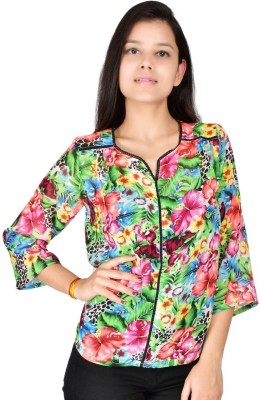Palette Casual 3/4 Sleeve Printed Women's Multicolor Top