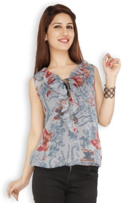 Free Spirited Casual Sleeveless Printed Women's Grey Top