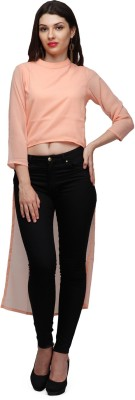 Eavan Casual 3/4 Sleeve Solid Women's Orange Top