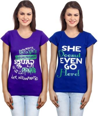 IndiWeaves Casual Short Sleeve Printed Girl's Purple, Blue Top