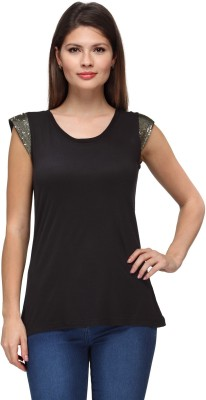 FW Collection Casual, Party Short Sleeve Embellished Women's Black Top