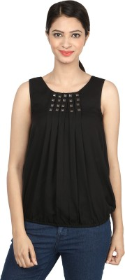 Charisma Casual Sleeveless Solid Women's Black Top