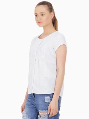 American Swan Casual Cap sleeve Printed Women's White Top