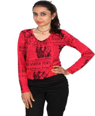 Vanya Enterprises Casual Full Sleeve Printed Women's Black, Red Top