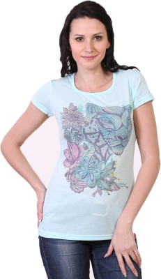Oner Casual Short Sleeve Printed Women's Green Top