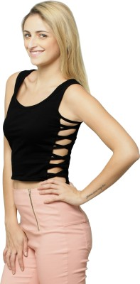 Miss Chase Casual Sleeveless Solid Women's Black Top