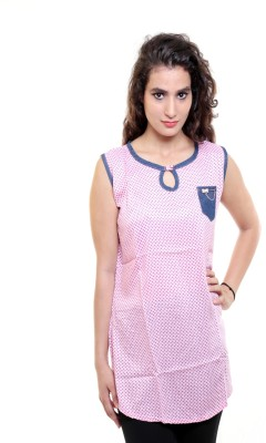 Sea Lion Casual Sleeveless Polka Print Women's Pink Top