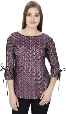 Pops N Pearls Casual 3/4 Sleeve Embroidered Women's Black Top