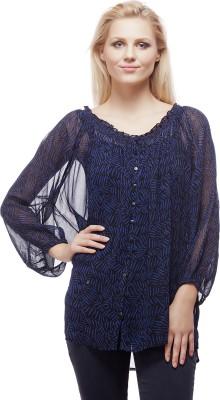 Clo Clu Casual Full Sleeve Printed Women,s Blue Top
