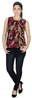 gsi Casual Sleeveless Printed Women,s Red, Black Top