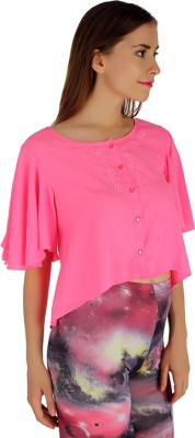 Holidae Casual Bell Sleeve Solid Women's Pink Top
