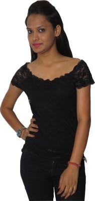 Modo Vivendi Casual Short Sleeve Solid Women's Black Top