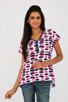 Moda Vastra Casual Short Sleeve Printed Women's Multicolor Top