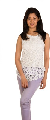 Modo Vivendi Party Sleeveless Striped Women's White Top