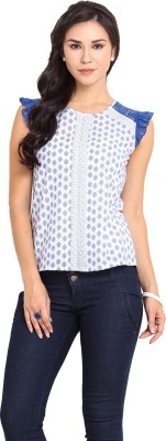 Pryma Donna Casual Sleeveless Printed Women's White, Blue Top