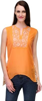 Fashionwalk Casual Sleeveless Solid Women's Orange Top