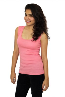 The Clove Casual Sleeveless Solid Women's Pink Top