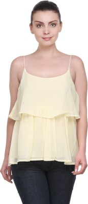 Kami Party Sleeveless Solid Women's Yellow Top