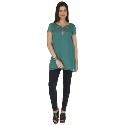 Free Spirited Casual 3/4 Sleeve Solid Women's Green Top