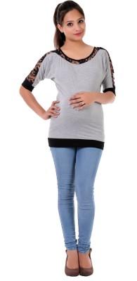 James Scot Formal Short Sleeve Solid Women's Grey Top