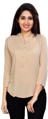 Carrel Casual 3/4 Sleeve Solid Women's Beige Top