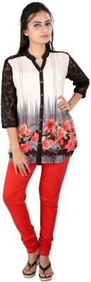 Go4it Casual, Party 3/4 Sleeve Floral Print Women,s Black Top