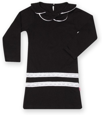 Dreamszone Casual 3/4 Sleeve Solid Girl's Black Top