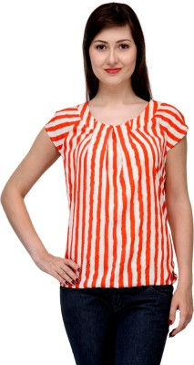 India Inc Casual Short Sleeve Striped Women's White, Orange Top