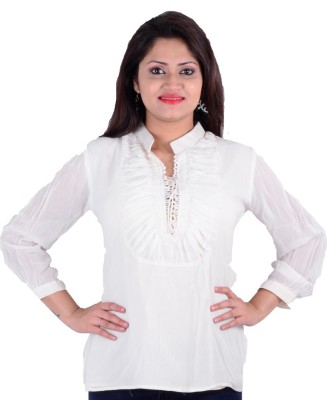 SMUK Casual 3/4 Sleeve Solid Women's White Top