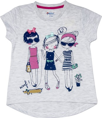 Pepito Party Short Sleeve Printed Girl's Grey Top