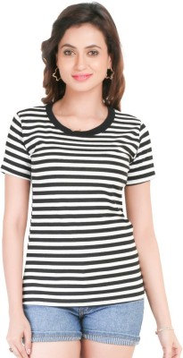 Big Tree Casual Short Sleeve Striped Women's Black Top