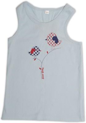 Nino Bambino Casual Sleeveless Printed Baby Girl's Blue Top