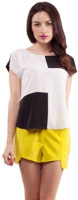 Purple Ginger Casual Short Sleeve Checkered Women's White, Black Top