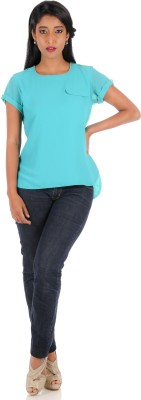 R Factor Casual Short Sleeve Embellished Women's Blue Top
