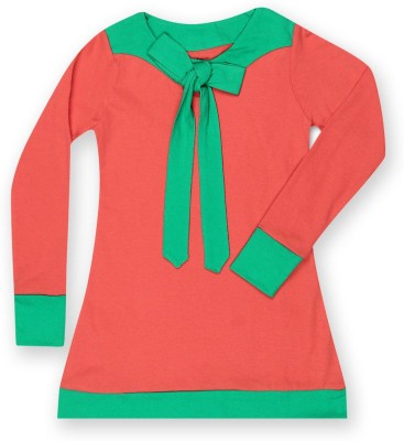 Dreamszone Casual 3/4 Sleeve Solid Girl,s Red, Green Top