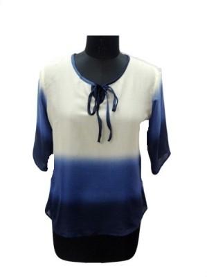 Eleganceranuka Casual 3/4 Sleeve Self Design Women's Dark Blue Top