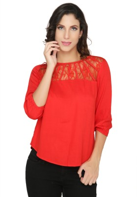 Philigree Casual 3/4 Sleeve Solid Women,s Red Top