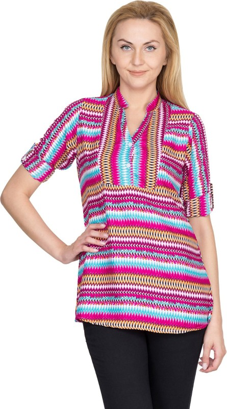 Shopaholic Casual Roll-up Sleeve Printed Women's Purple, Blue, Yellow, Black Top