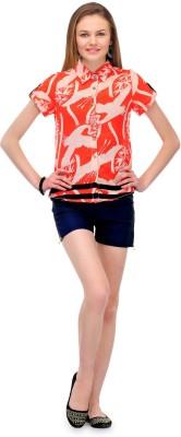 1OAK Casual Short Sleeve Printed Women's Orange Top