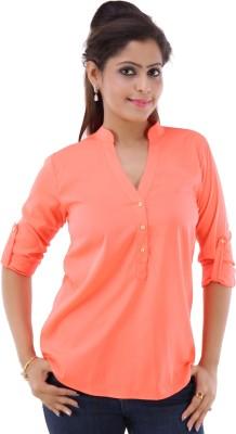 fashionadobe Casual 3/4 Sleeve Solid Women's Orange Top
