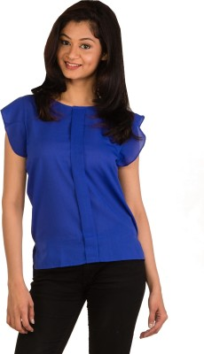 Modo Vivendi Casual Sleeveless Solid Women's Blue Top