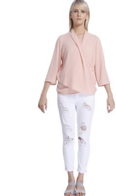 Vero Moda Casual 3/4 Sleeve Solid Women's Pink Top